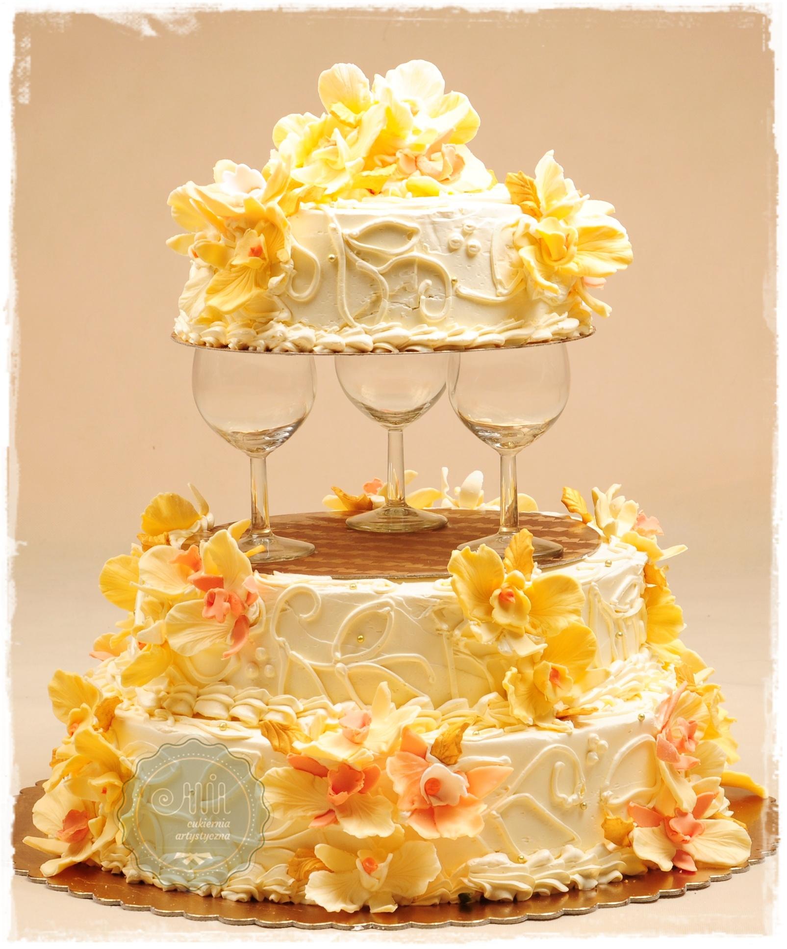 Tort weselny Złoty Blask łososiowy - zdjęcie 1