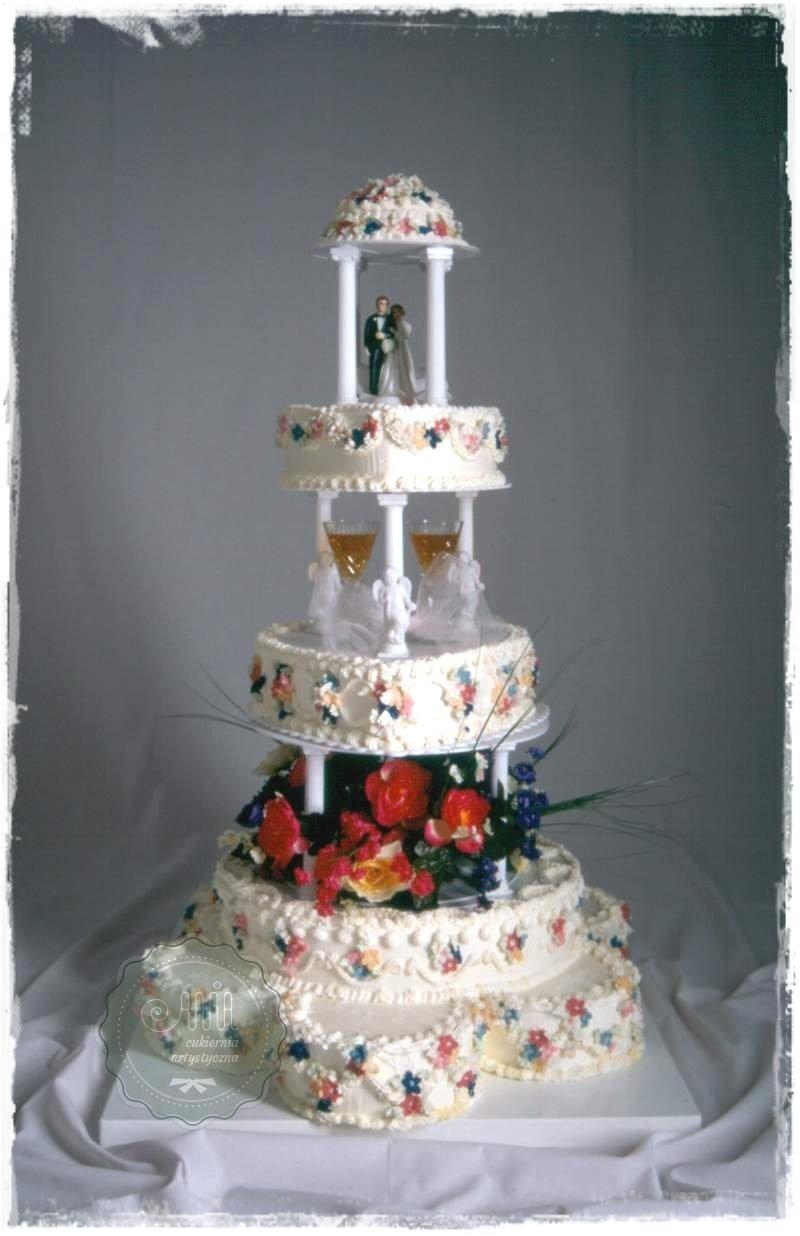 Tort weselny Kwiatowy Ogród - zdjęcie 1