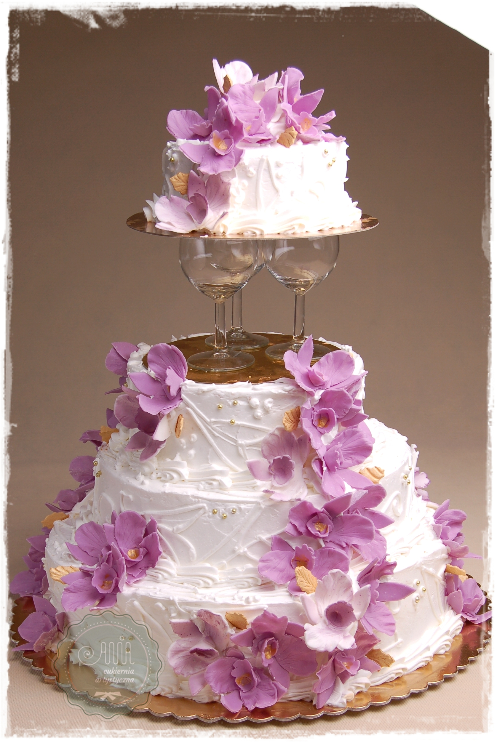 Tort weselny Złoty Blask lawendowy - zdjęcie 1