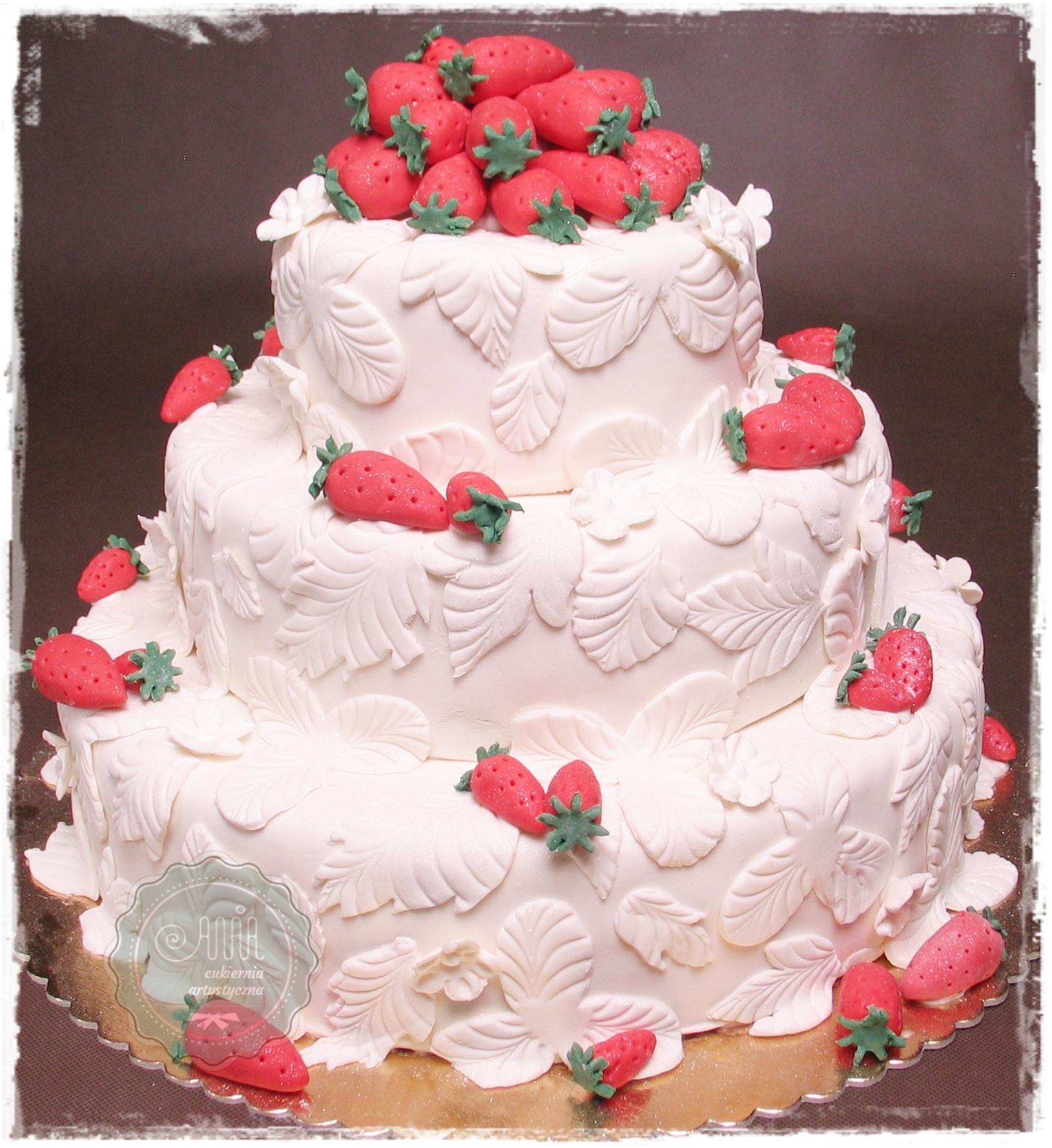 Tort weselny Truskaweczki - zdjęcie 1