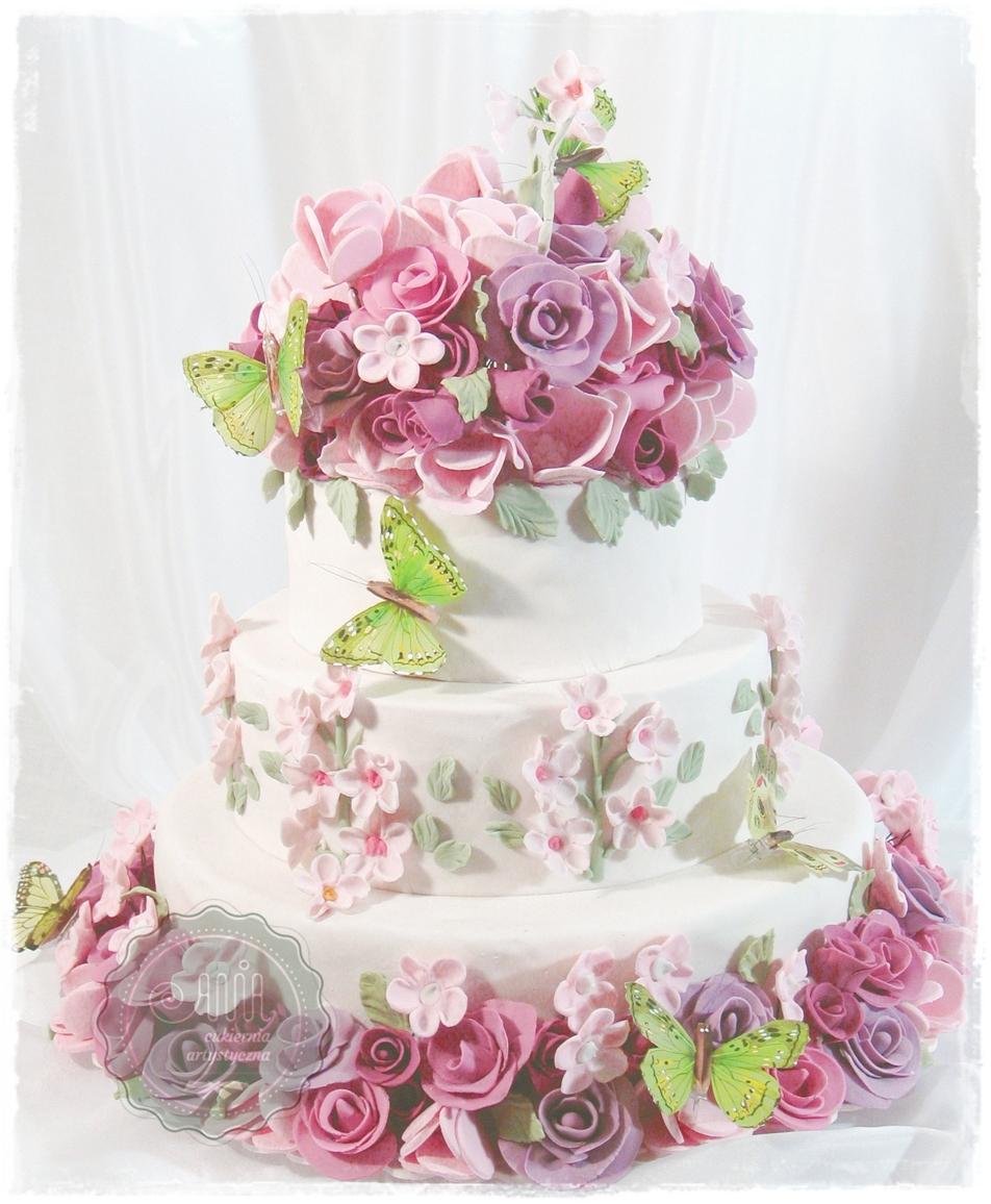 Tort weselny Motyle - zdjęcie 1