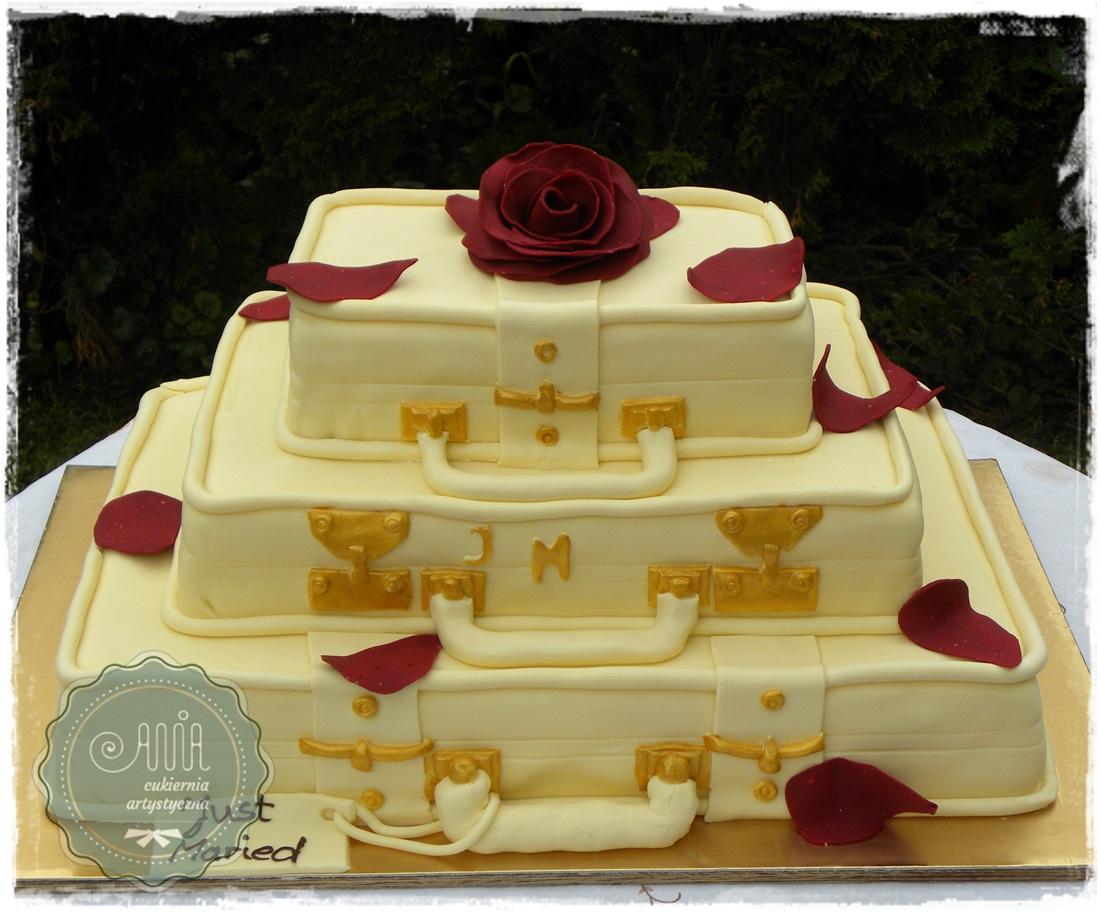 Tort Walizki z Różą - zdjęcie 1