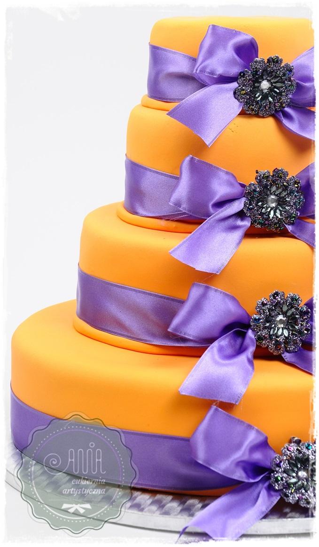 Tort Satynowe wstążki fiolet - zdjęcie 1