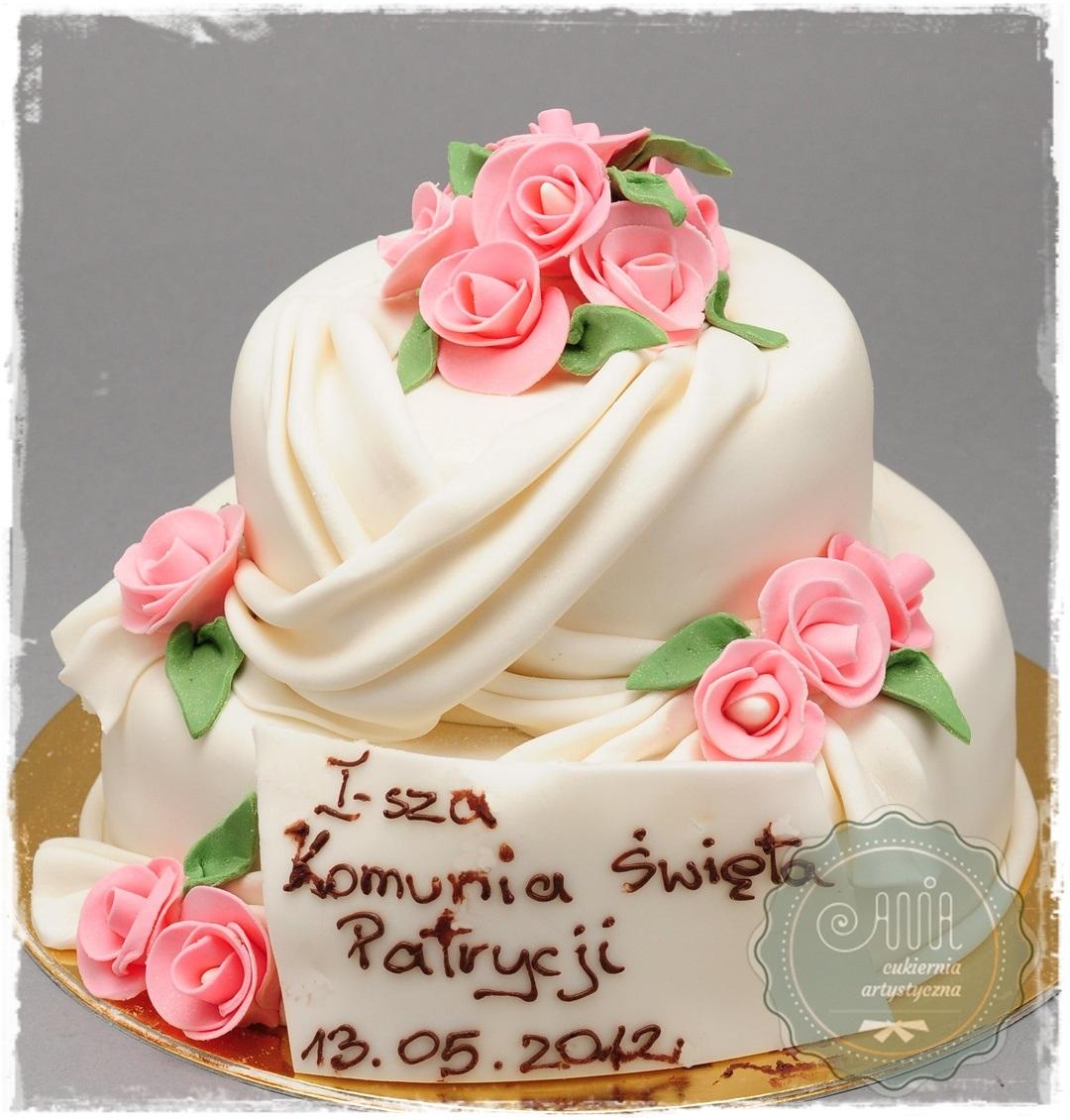 Tort  komunjny Bella różowe róże - zdjęcie 1