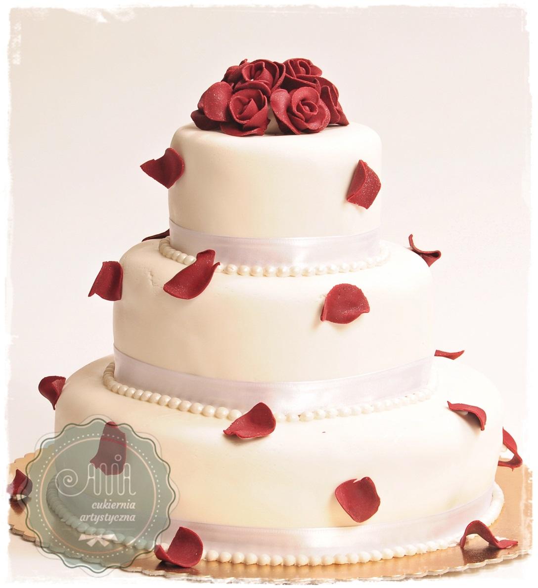 Tort weselny Elena okrągła - zdjęcie 1