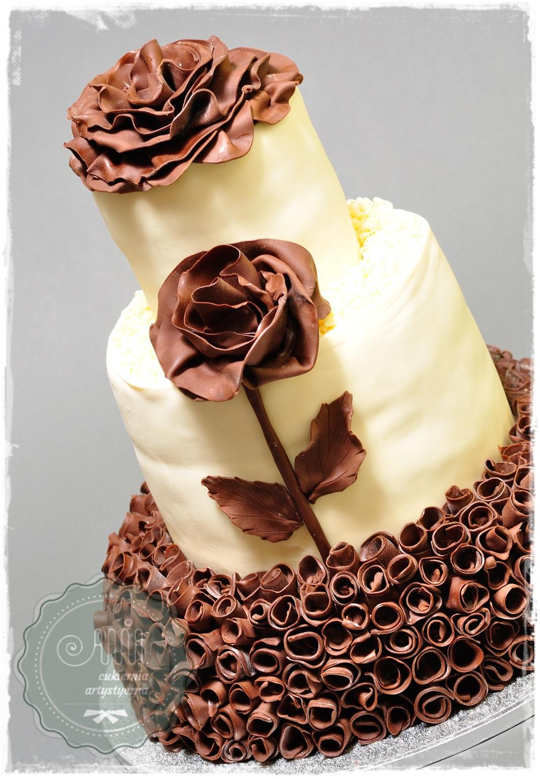 Tort weselny Czekoladowa róża - zdjęcie 1
