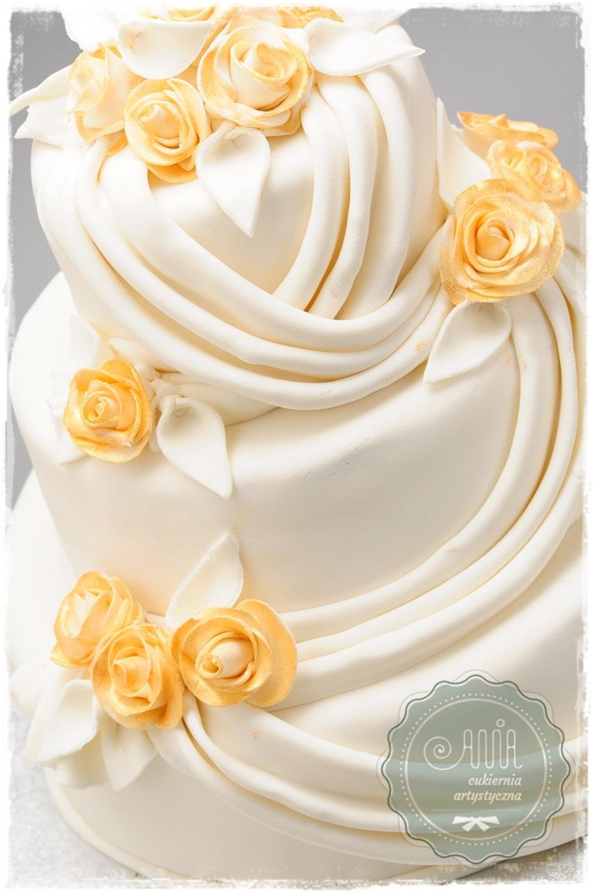 Tort weselny Bella złote róże - zdjęcie 1