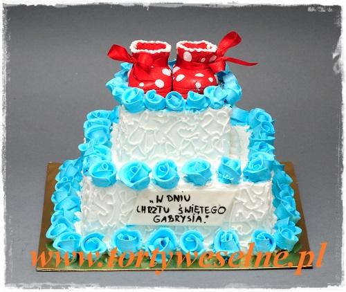 Tort na chrzciny Czerwone buciki - zdjęcie 1