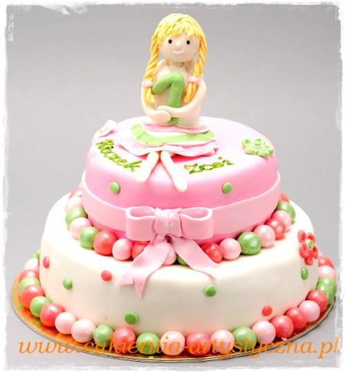 Tort urodzinowy z dziewczynką - zdjęcie 1