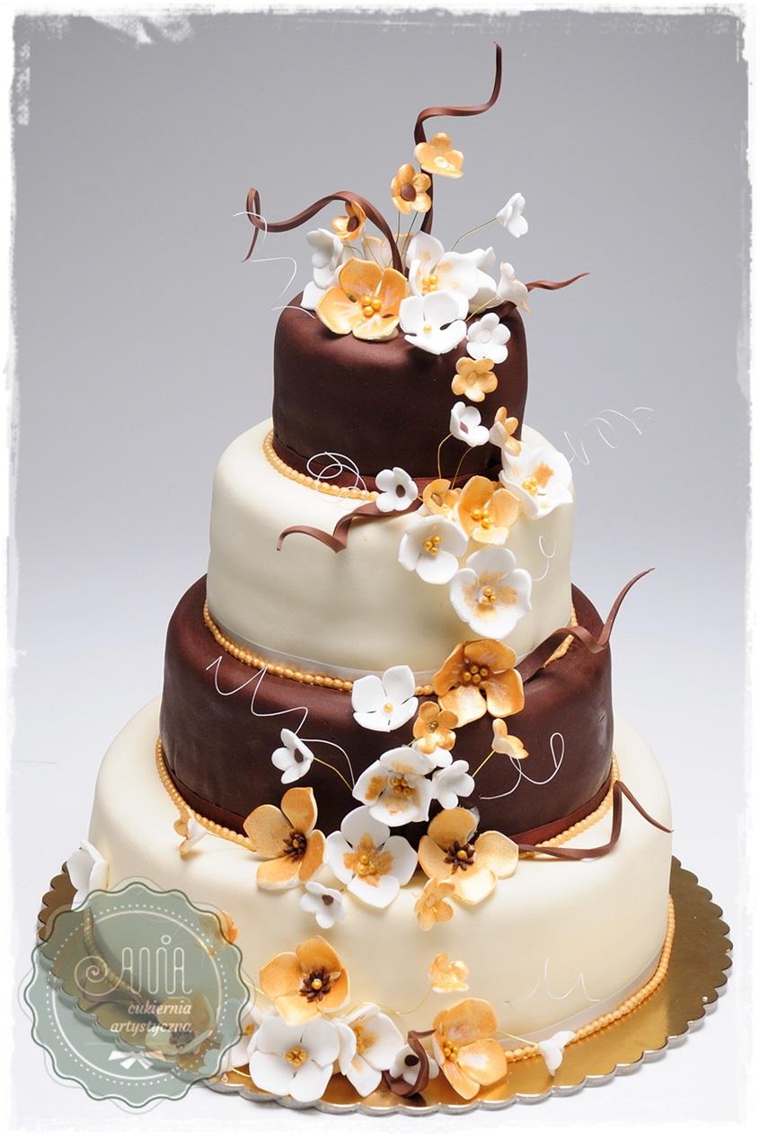 Tort weselny Złote Kwiaty - zdjęcie 1