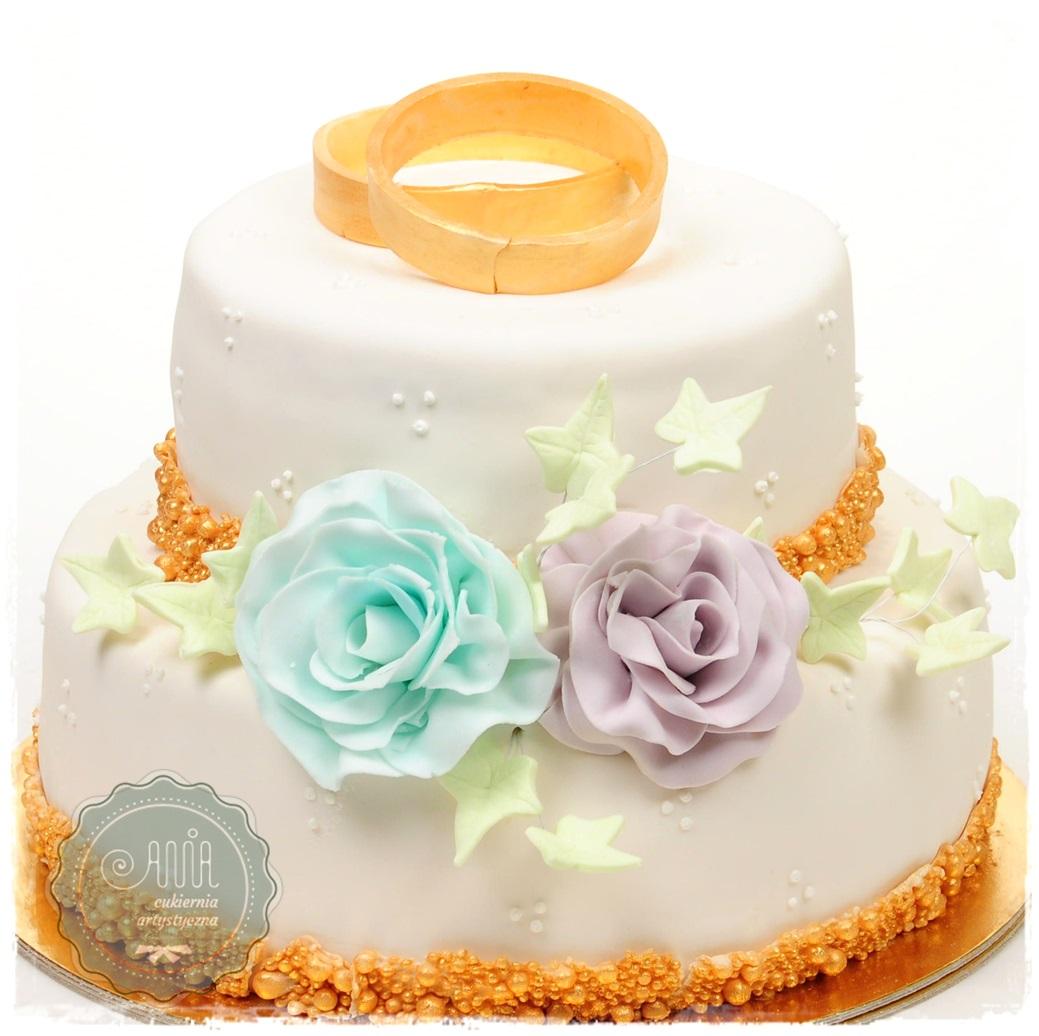 Tort weselny Obrączki - zdjęcie 1