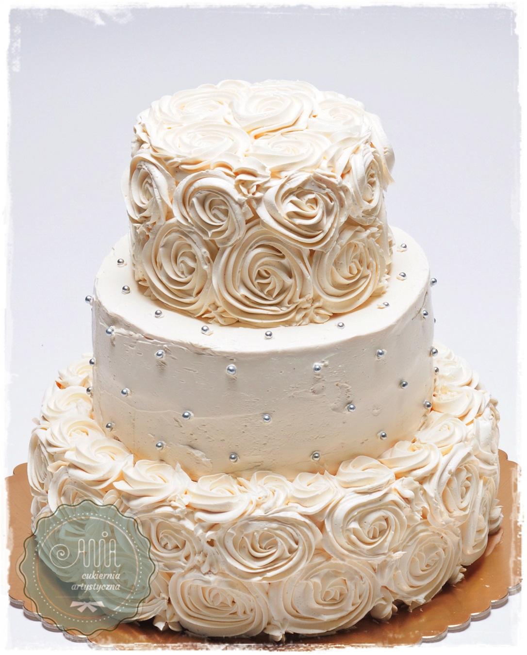 Tort Kremowe Róże - zdjęcie 1