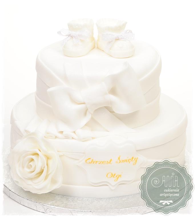 Tort na chrzciny z różą - zdjęcie 1