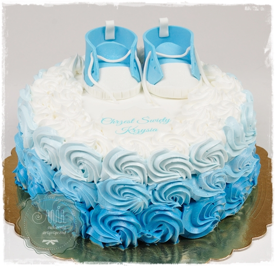Tort na chrzciny różany - zdjęcie 1
