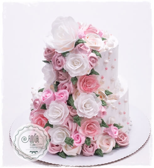 Tort w kremia różana kaskada - zdjęcie 1
