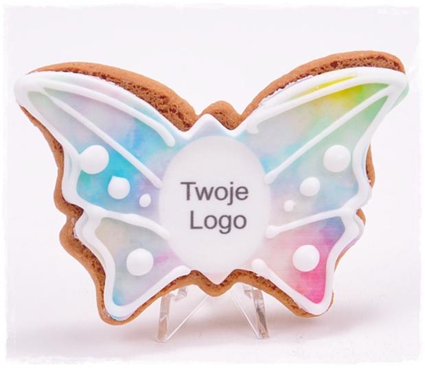 Ciastko miodowe motyl z nadrukiem i dekoracją lukrową - zdjęcie 1